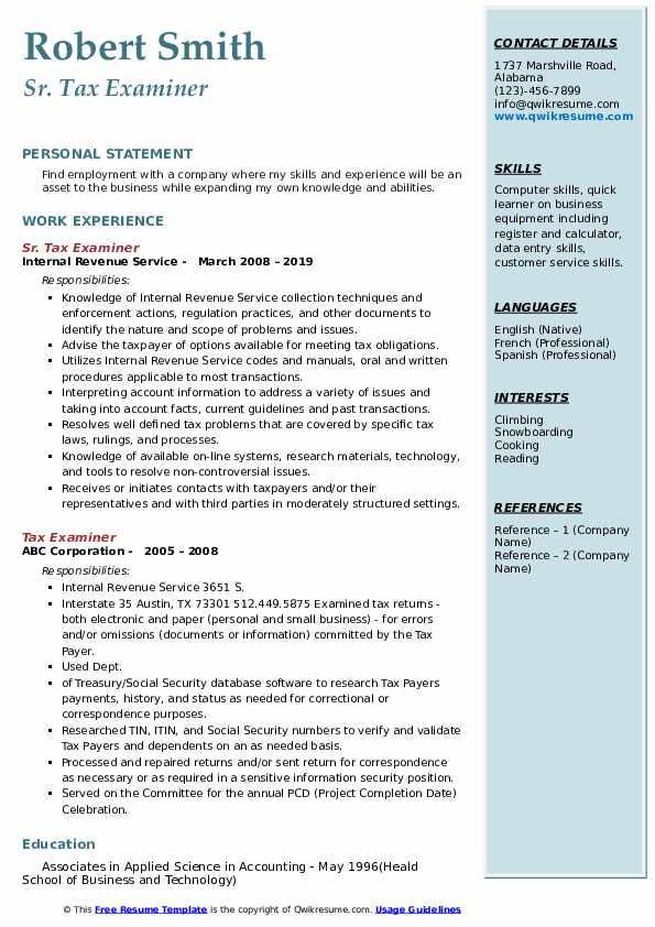 Sr. Tax Examiner Resume Model