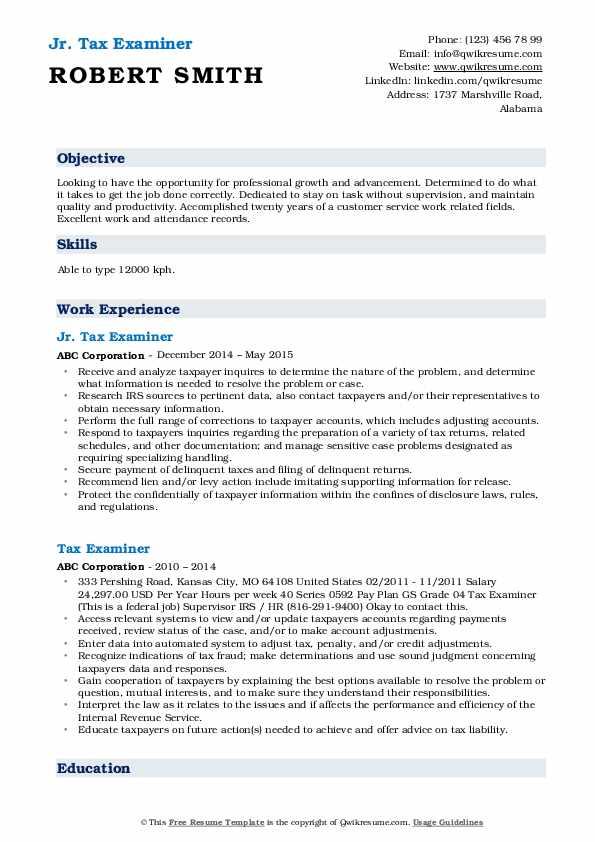 Jr. Tax Examiner Resume Format