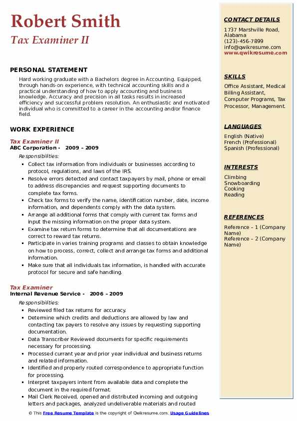 Tax Examiner II Resume Sample