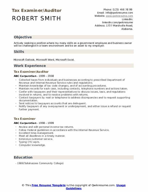Tax Examiner/Auditor Resume Template