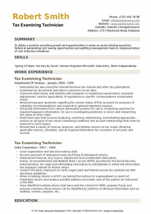 Tax Examining Technician Resume example