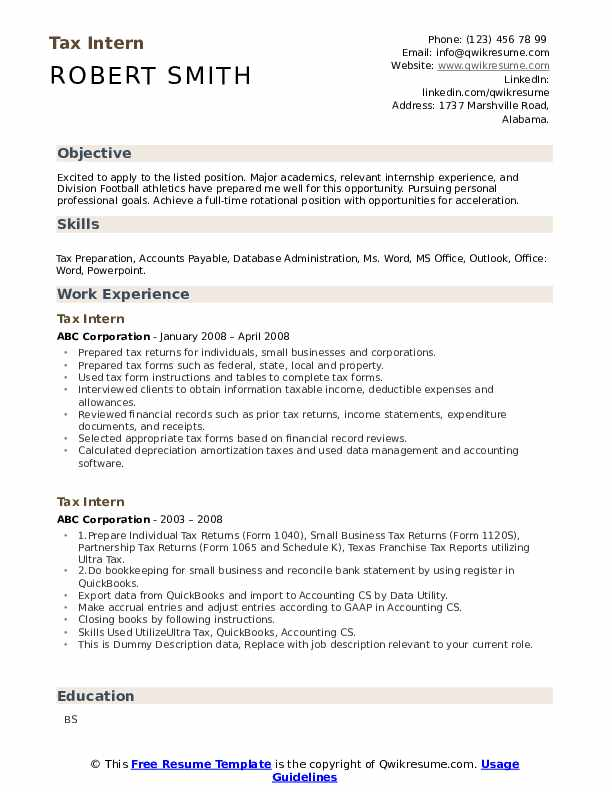 Tax Intern Resume example