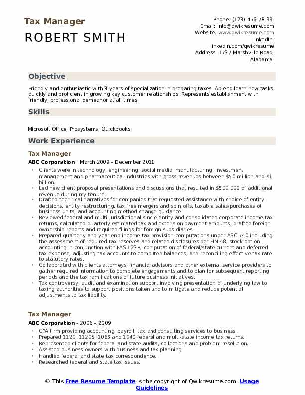 Tax Manager Resume Samples Qwikresume