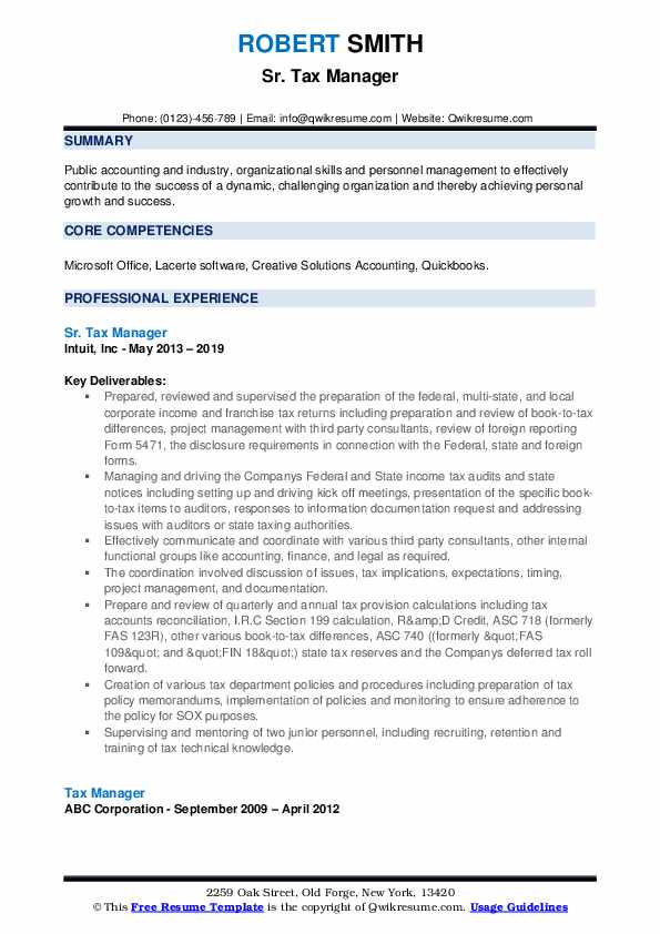 Sr. Tax Manager Resume Template