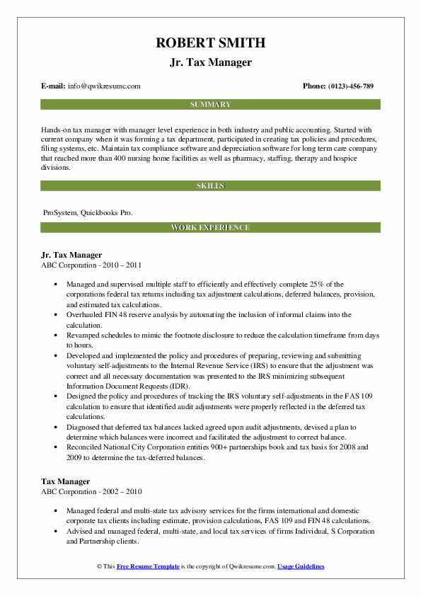 Jr. Tax Manager Resume Template