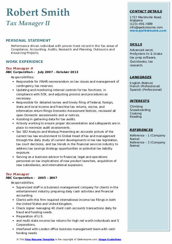 Tax Manager II Resume Model