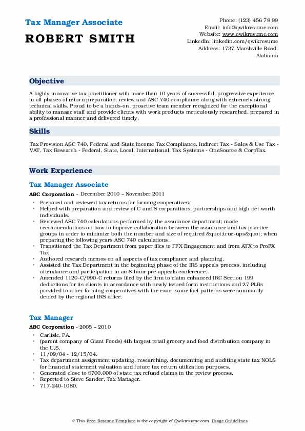 Tax Manager Associate Resume Model