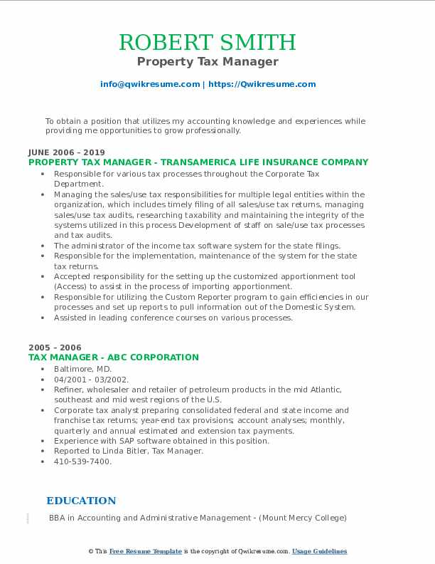 Property Tax Manager Resume Template