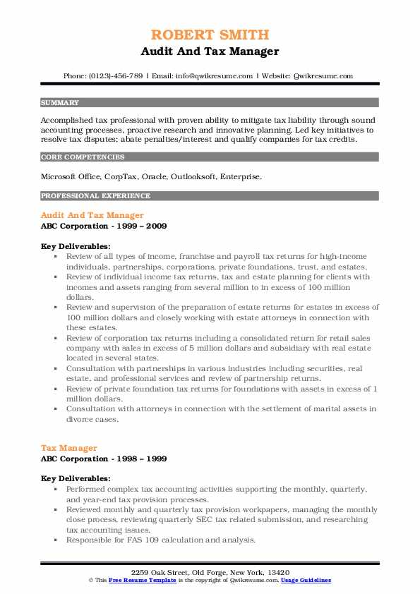 Audit And Tax Manager Resume Model