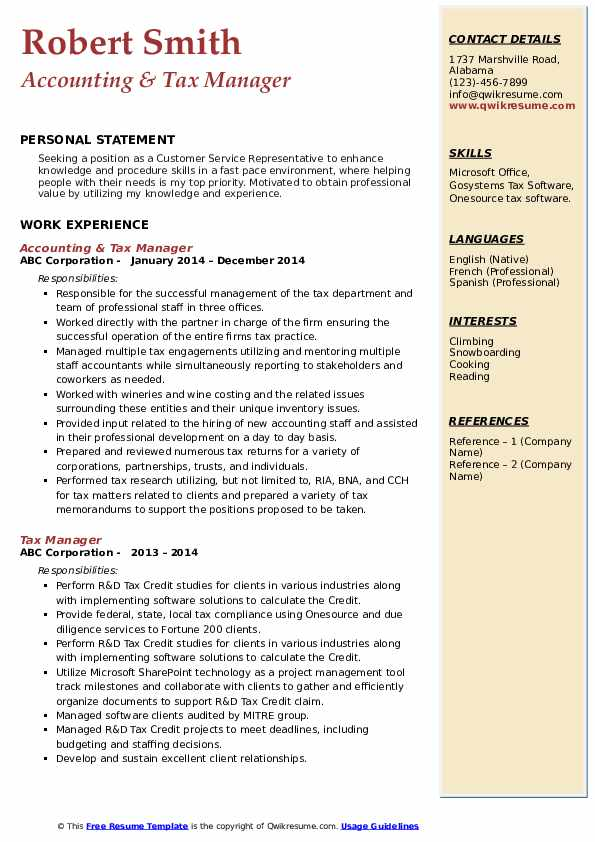 Accounting & Tax Manager Resume Template