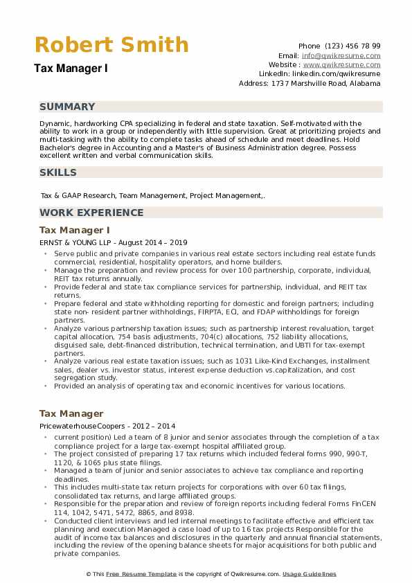 Tax Manager I Resume Example
