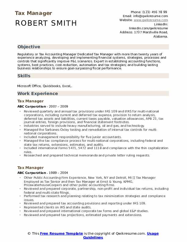 Tax Manager Resume Sample