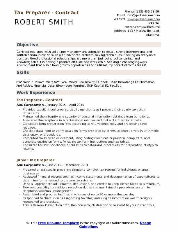 Tax Preparer - Contract Resume Format