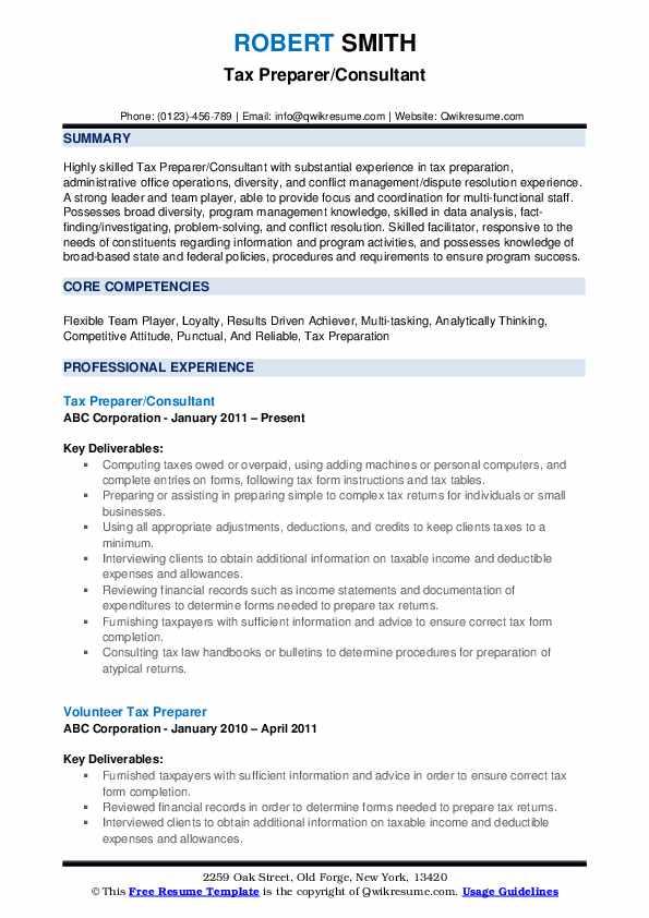 Tax Preparer/Consultant Resume Example