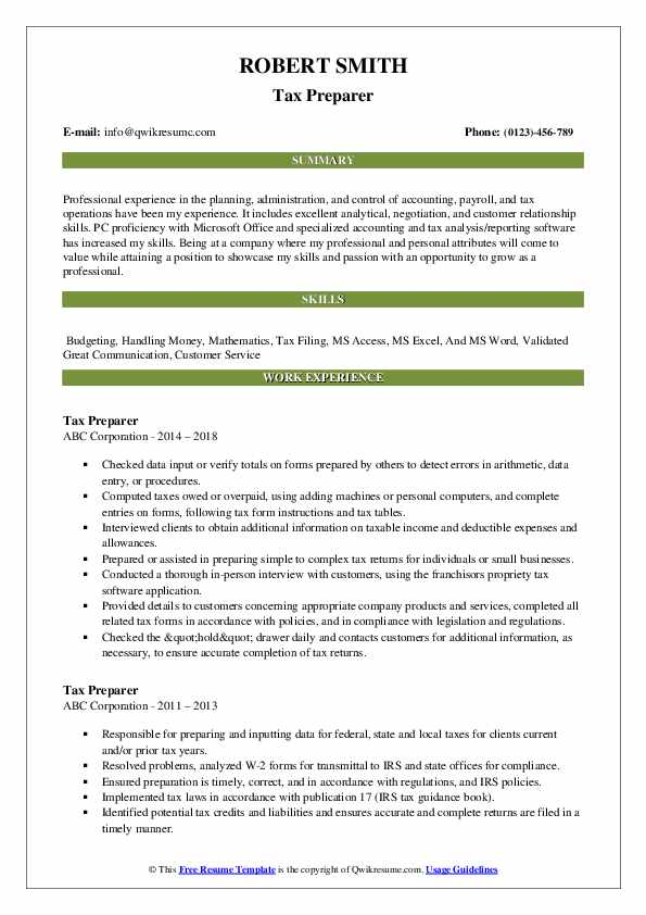 Tax Preparer Resume Format