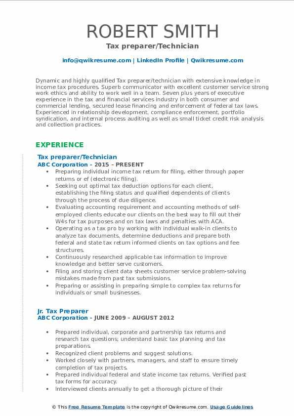 Tax preparer/Technician Resume Format