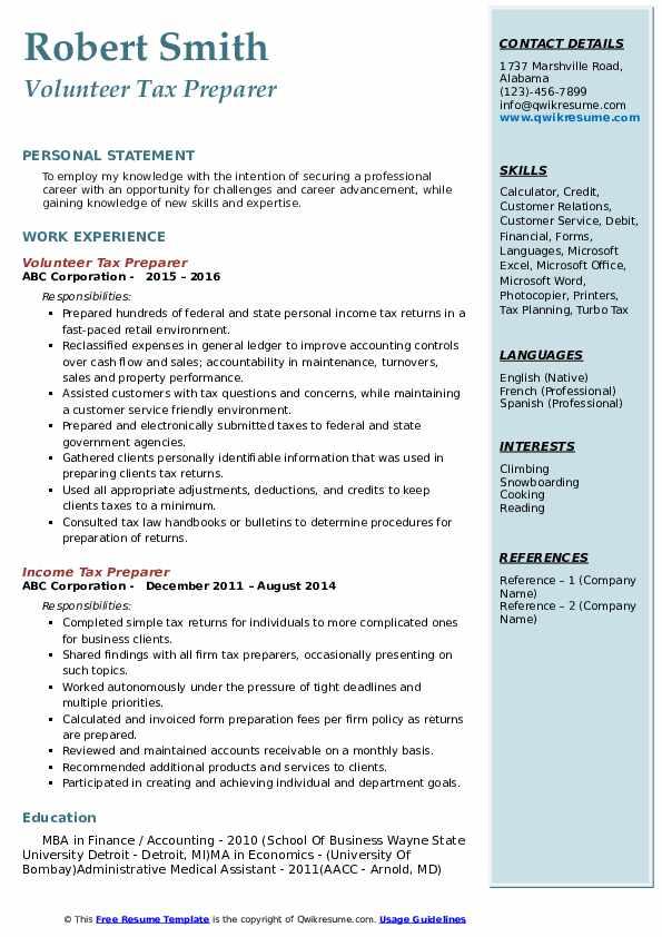 Volunteer Tax Preparer Resume Template