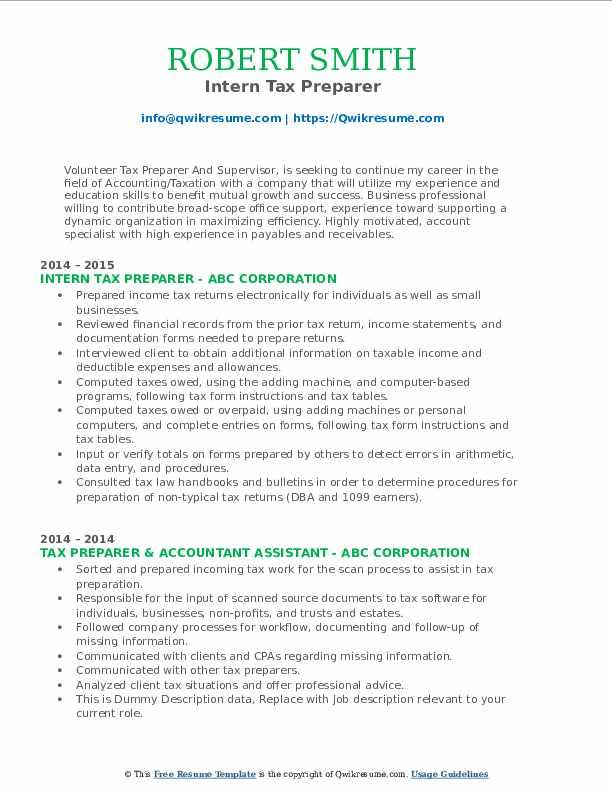 Intern Tax Preparer Resume Format