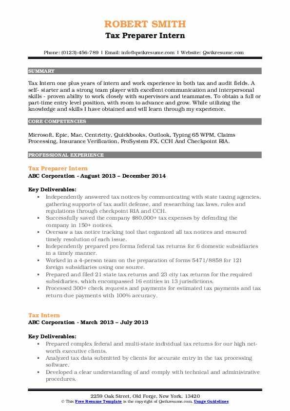 Tax Preparer Intern Resume Example