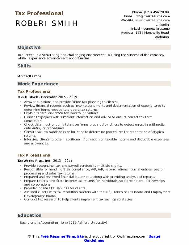 Tax Professional Resume Template