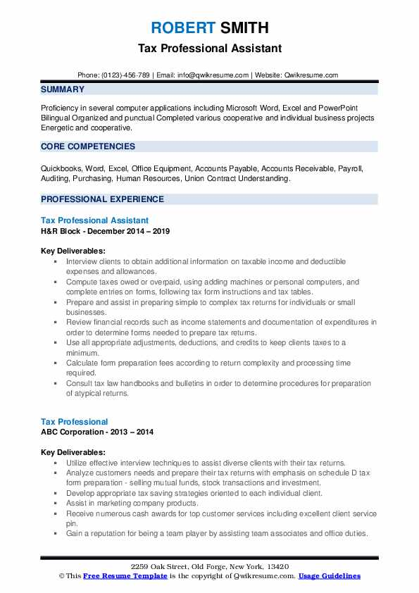 Tax Professional Assistant Resume Format