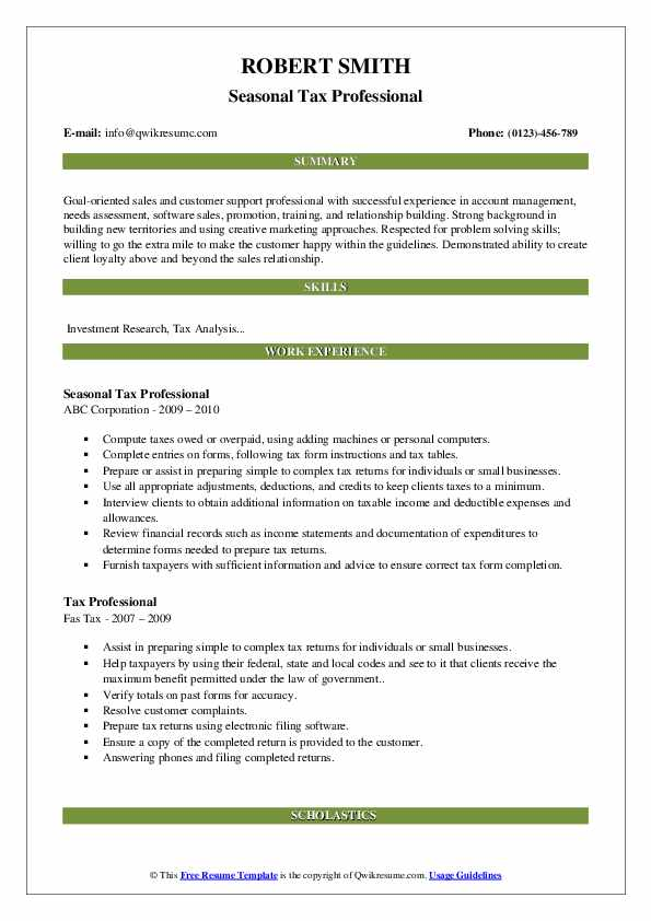 Seasonal Tax Professional Resume Template