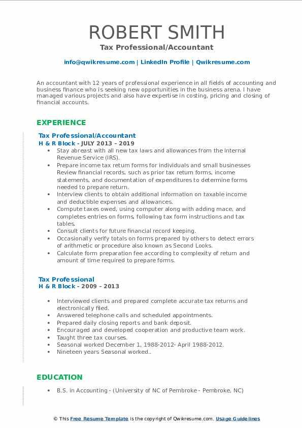 Tax Professional/Accountant Resume Model