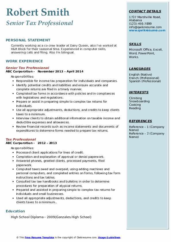 Senior Tax Professional Resume Model