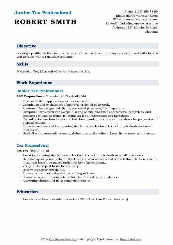 Junior Tax Professional Resume Sample