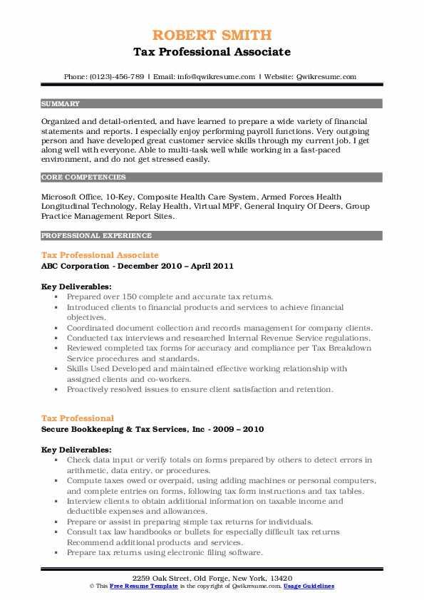 Tax Professional Associate Resume Example