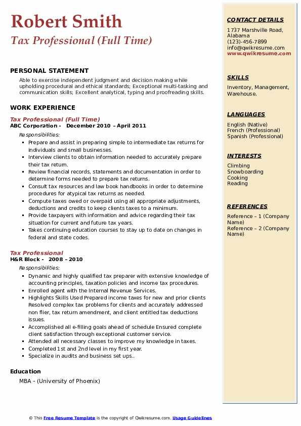 Tax Professional (Full Time) Resume Template
