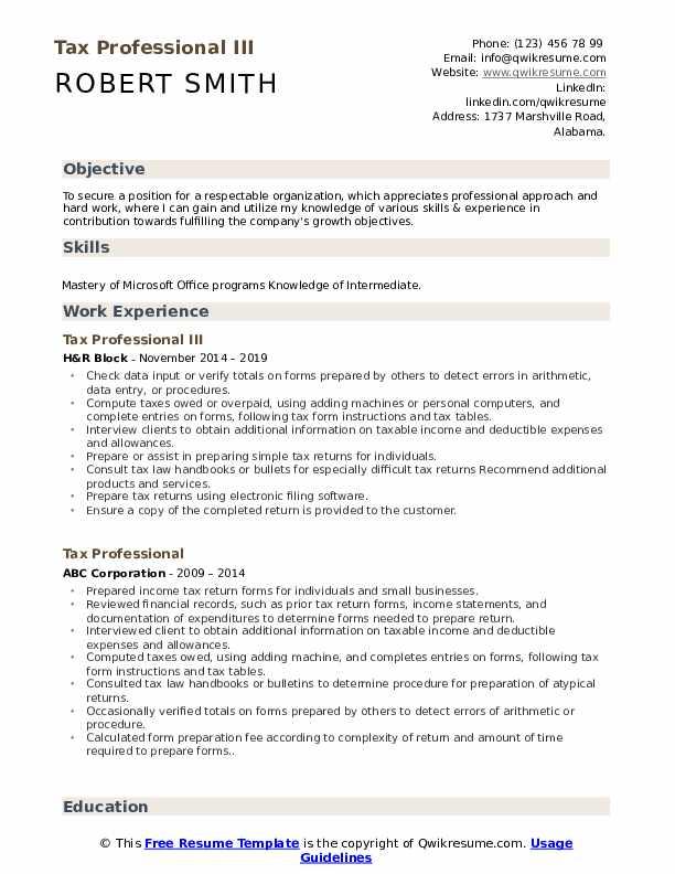 Tax Professional III Resume Format