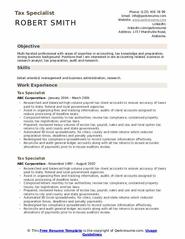 Tax Specialist Resume Example