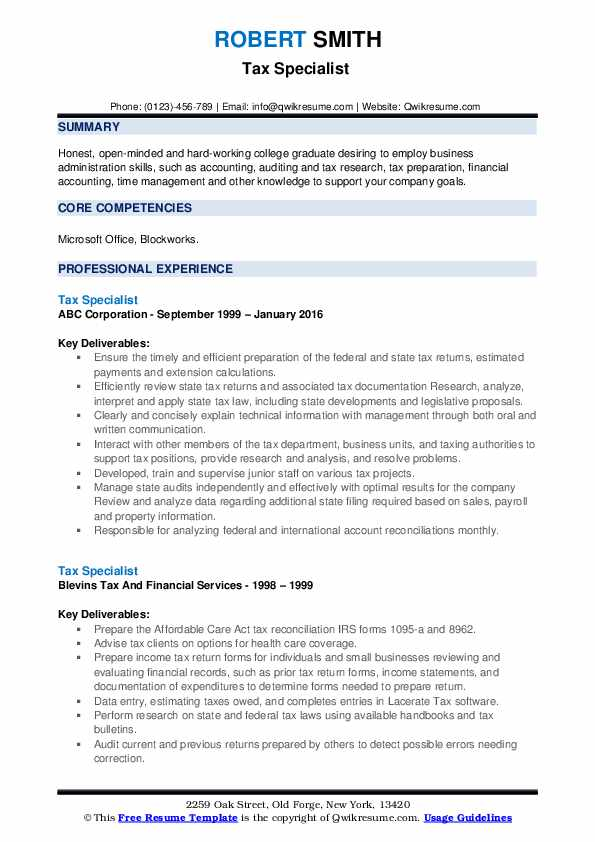 Tax Specialist  Resume Template
