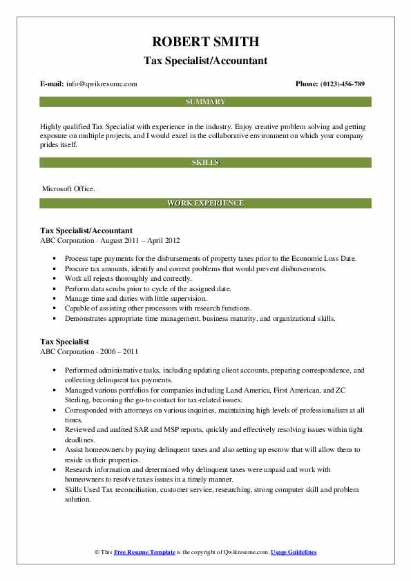 Tax Specialist/Accountant Resume Model