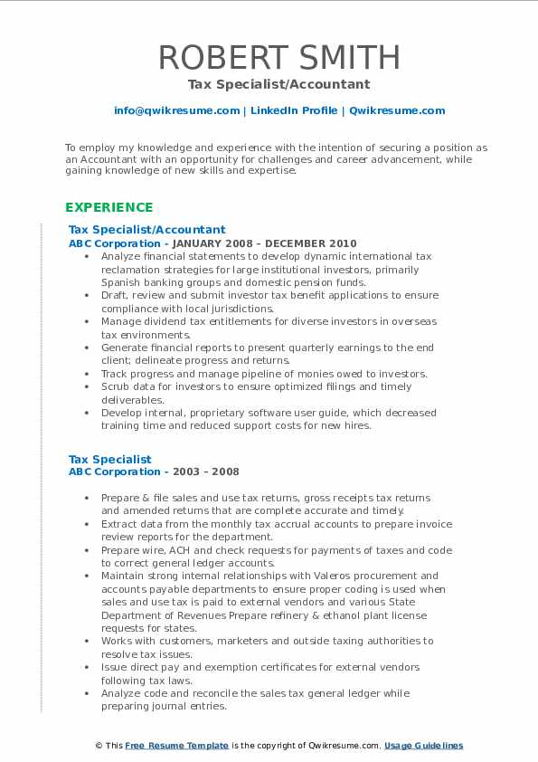 Tax Specialist/Accountant Resume Template