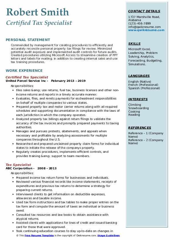 Certified Tax Specialist Resume Format