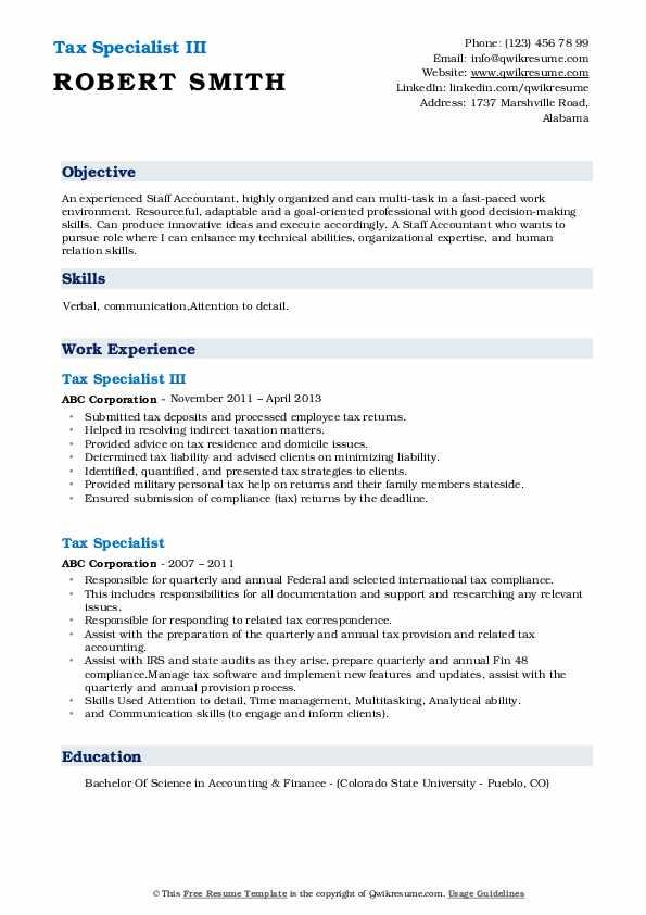 Tax Specialist III Resume Example