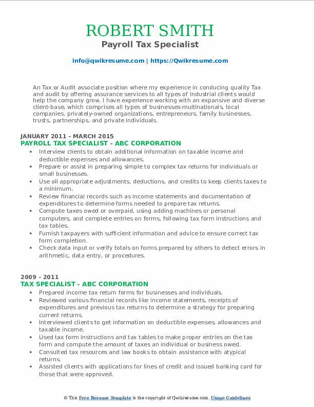 Payroll Tax Specialist Resume Example