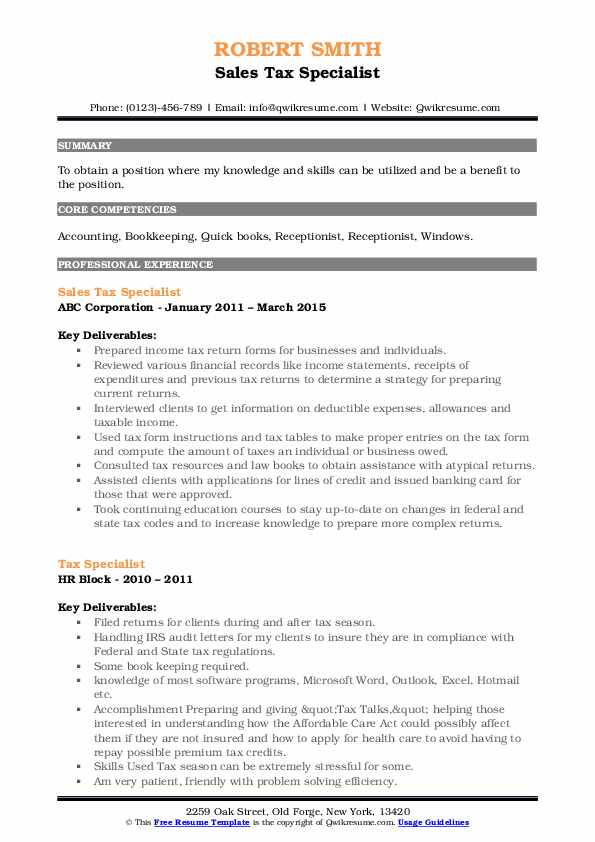 Sales Tax Specialist Resume Template