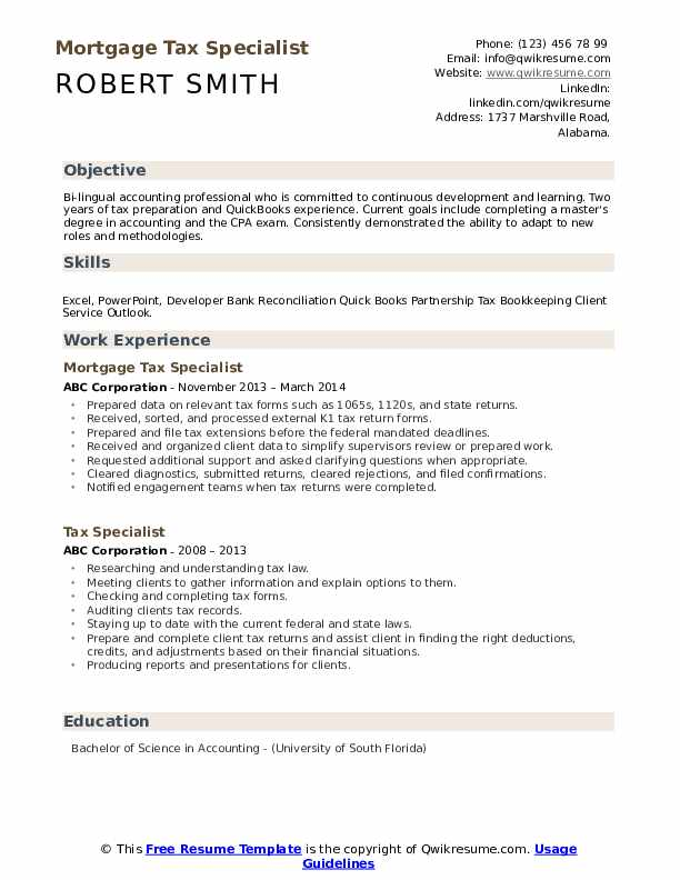 Mortgage Tax Specialist Resume Template