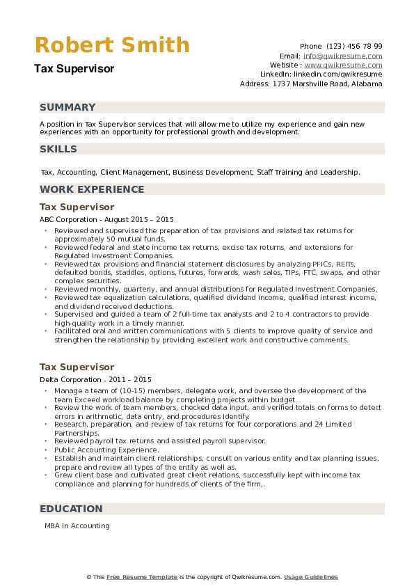 Tax Supervisor Resume example