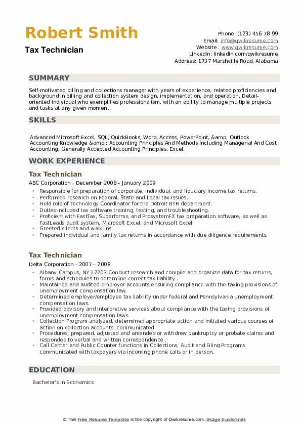 Tax Technician Resume example