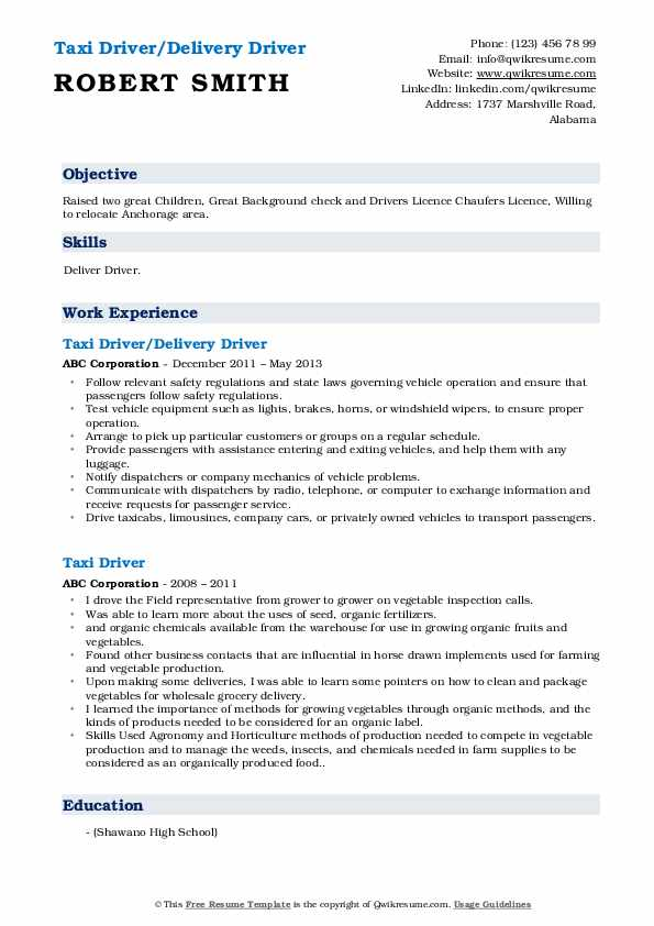 Taxi Driver/Delivery Driver Resume Sample