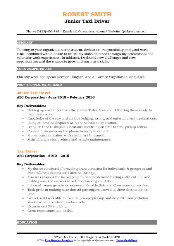 Junior Taxi Driver Resume Template