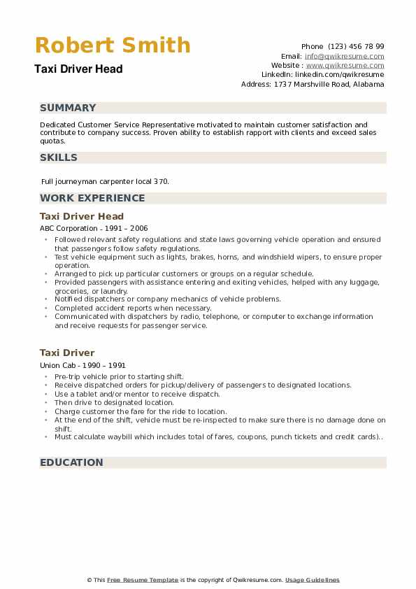 Taxi Driver Head Resume Example