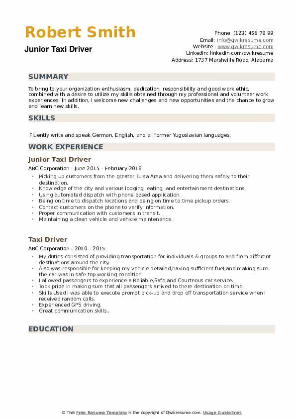 Taxi Cab Driver Resume example