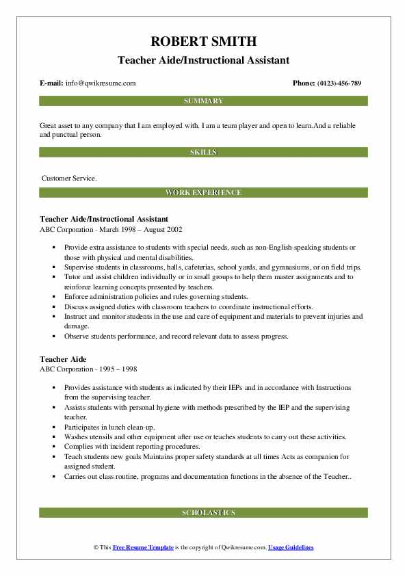 Teacher Aide/Instructional Assistant Resume Example