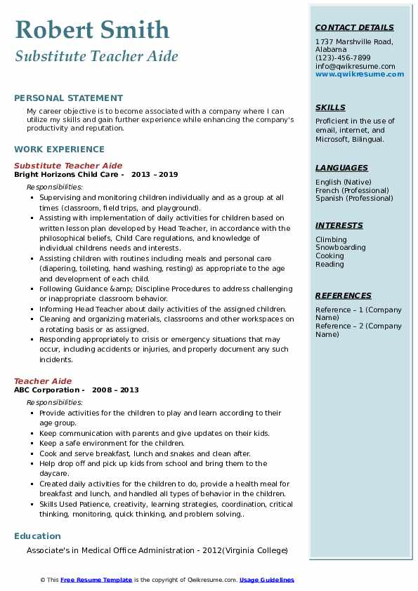 Substitute Teacher Aide Resume Template