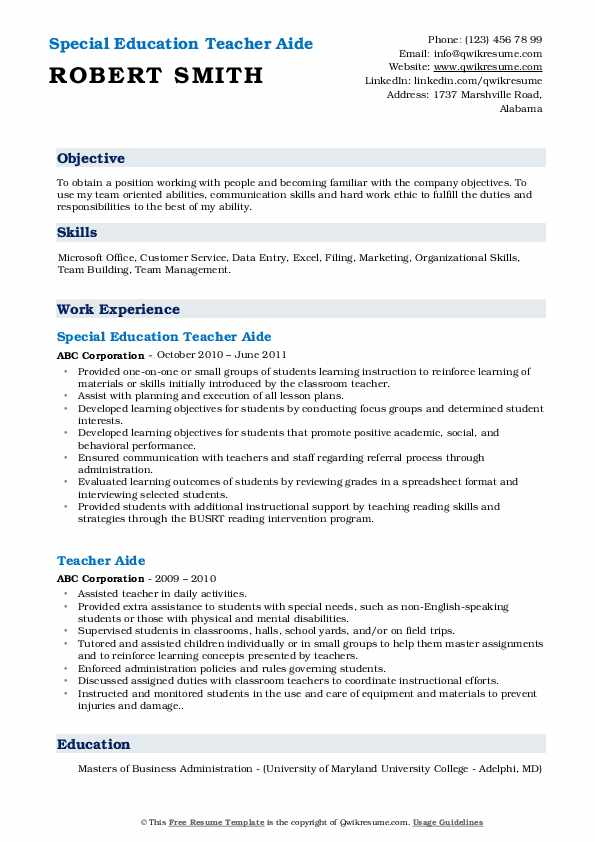 Special Education Teacher Aide Resume Format